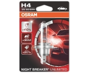OSRAM H4 halogēna spuldze NIGHT BREAKER UNLIMITED / Spilgtums +110% / Stara garums +40m 4052899017177 :: H4